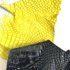 hand dyed alligator leather experiment, vibrant yellow and black