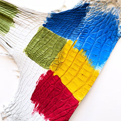 hand dyed alligator experiment, green, navy, blue, yellow, and red