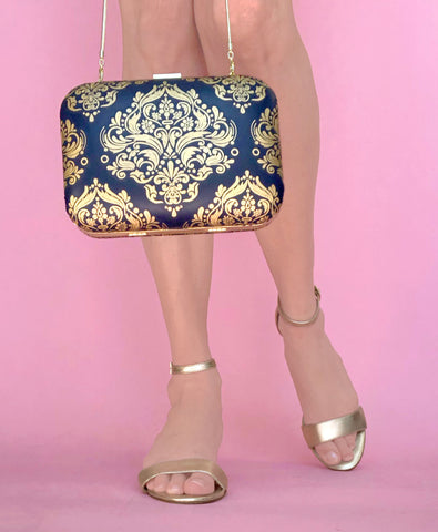 Navy nappa leather bag with gold foil print