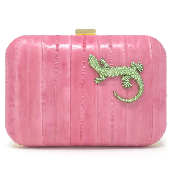"""Prom Queen"" clutch in pink eelskin with green crystal lizard"