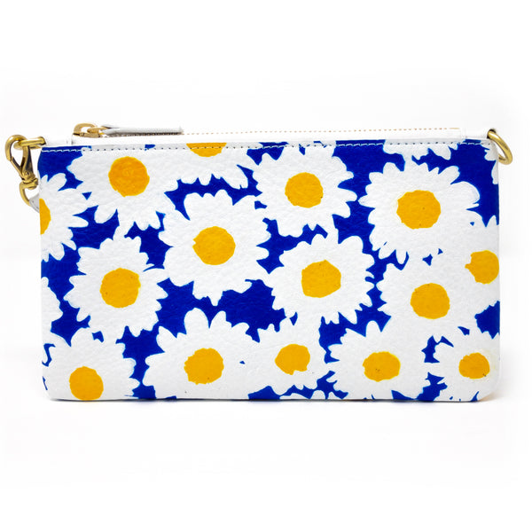 Little Zippy Wristlet in Blue & Yellow Daisies
