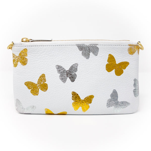 Little Zippy Wristlet in Silver & Gold Butterflies