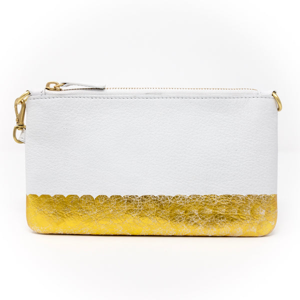 Little Zippy Wristlet in Gold Bottom Stripe