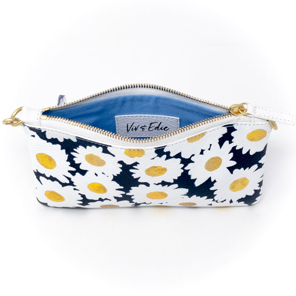 Little Zippy Wristlet in Navy & Gold Daisies