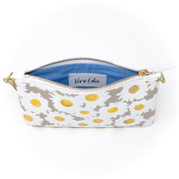 Little Zippy Wristlet in Taupe & Gold Daisies