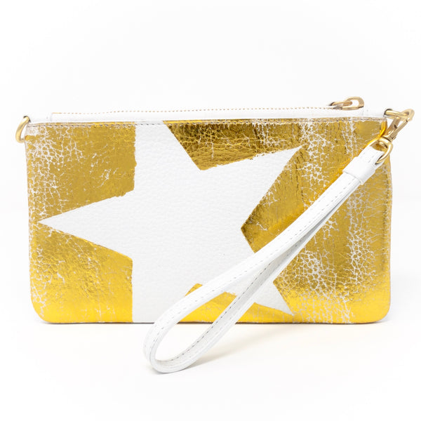 Little Zippy Wristlet in Big Gold Star