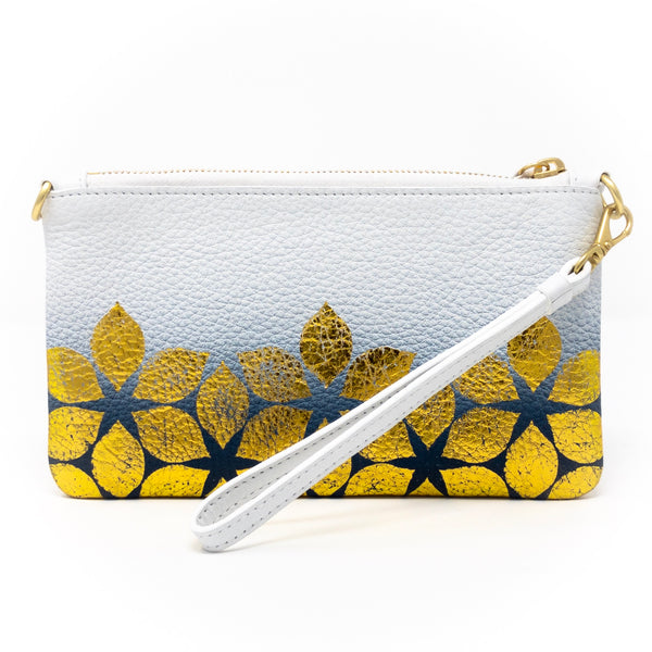 Little Zippy Wristlet in Ombre Gold Flower