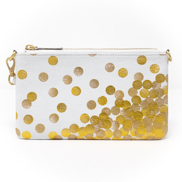 Little Zippy Wristlet in Gold Dots