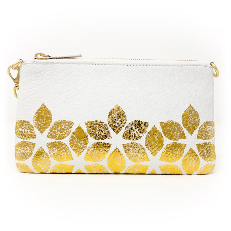 Little Zippy Wristlet in Gold Flowers