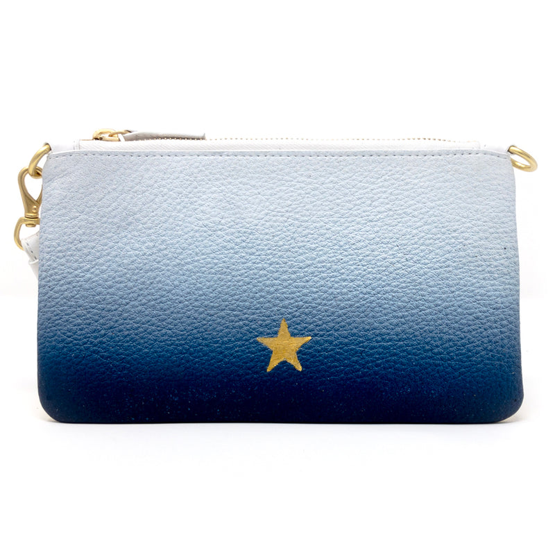 Little Zippy Wristlet in Blue & Gold Ombre