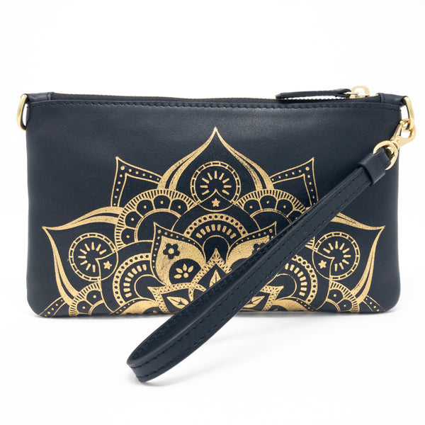 Little Zippy Wristlet in Gold Mandala