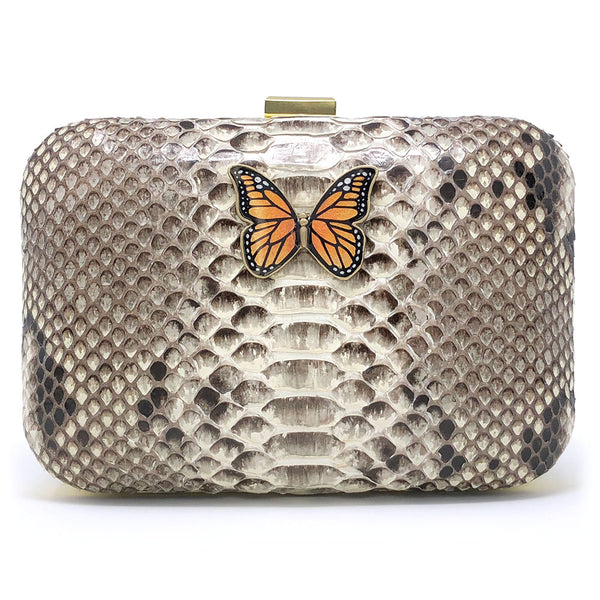 """The Serpent & the Butterfly"" clutch front view"