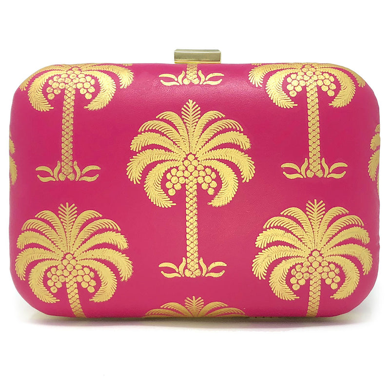 """Less Snow, More Palm Trees"" clutch front view"