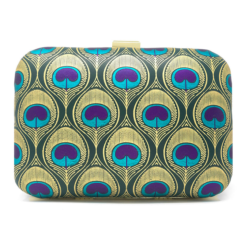 """In a Room Full of Swans be a Peacock"" clutch front view"