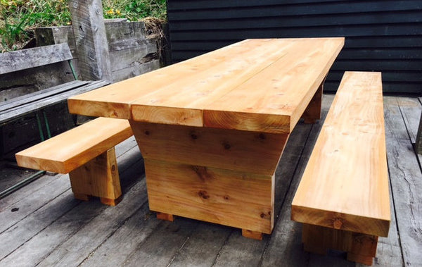 Macrocarpa Outdoor Tables with Freestanding Bench Seats