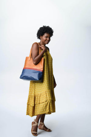Load image into Gallery viewer, Colorblock Hanna Tote - Walnut - UnoEth
