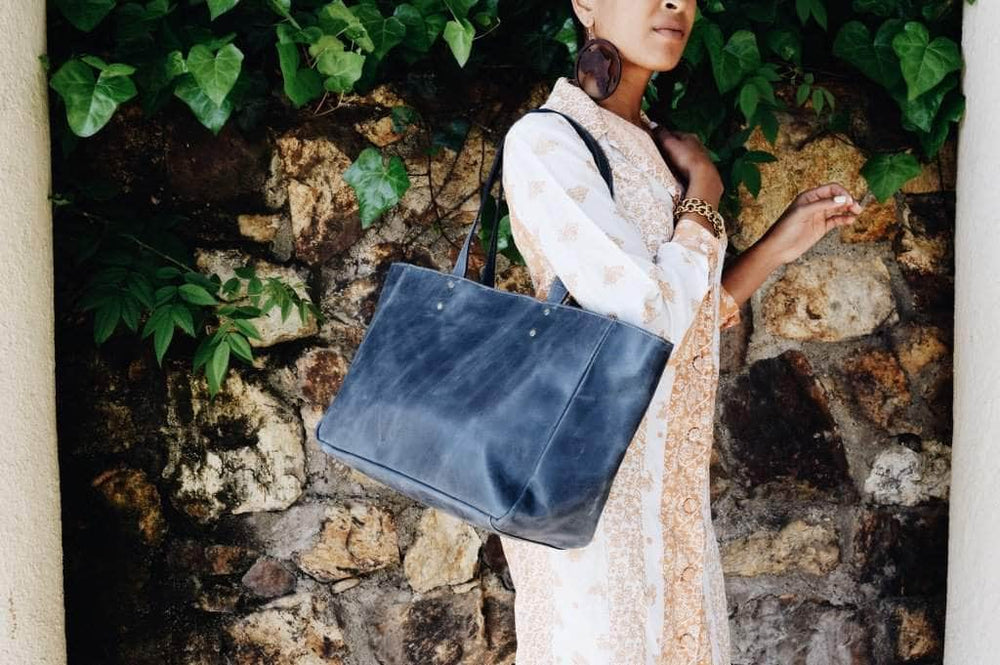 Sheba Leather Tote - Nile Blue - UnoEth