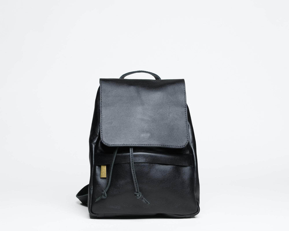 Mini Enku Leather Backpack - Black