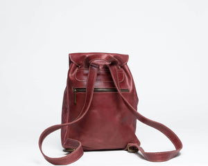 Mini Enku Leather Backpack - Red - UnoEth