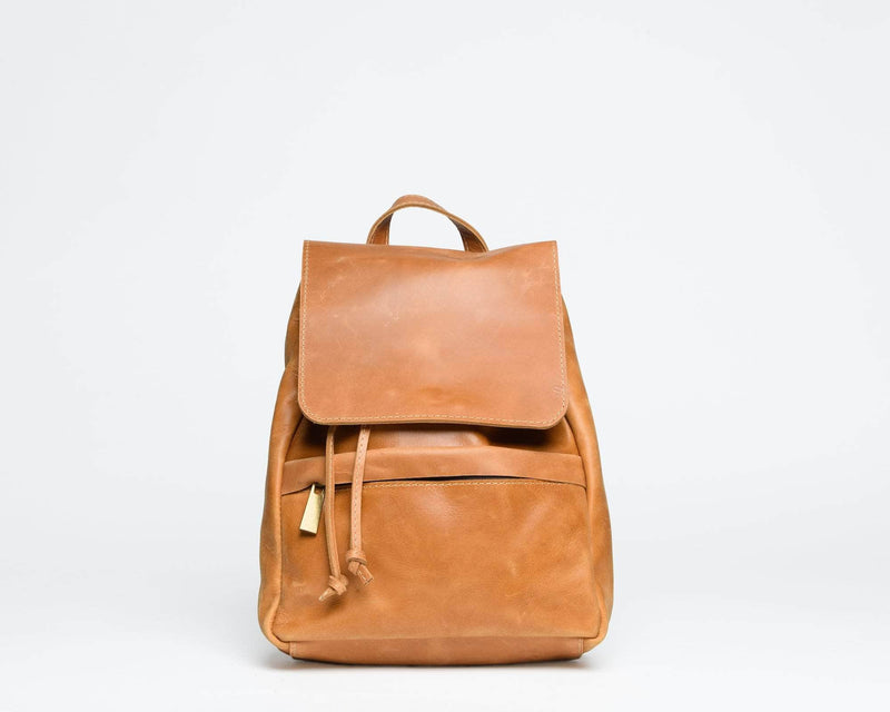 Mini Enku Leather Backpack - Walnut - UnoEth