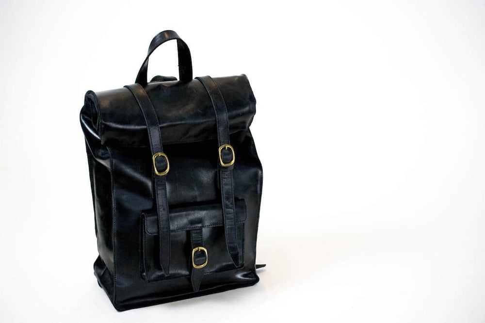 Robel Roll-Top Leather Backpack - Black - UnoEth
