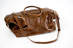 Guzzo Leather Duffle Bag - Almond Brown - UnoEth