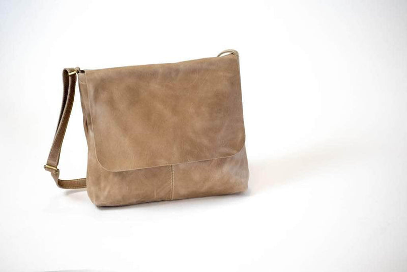 Telak Leather Messenger Bag - Light Grey - UnoEth
