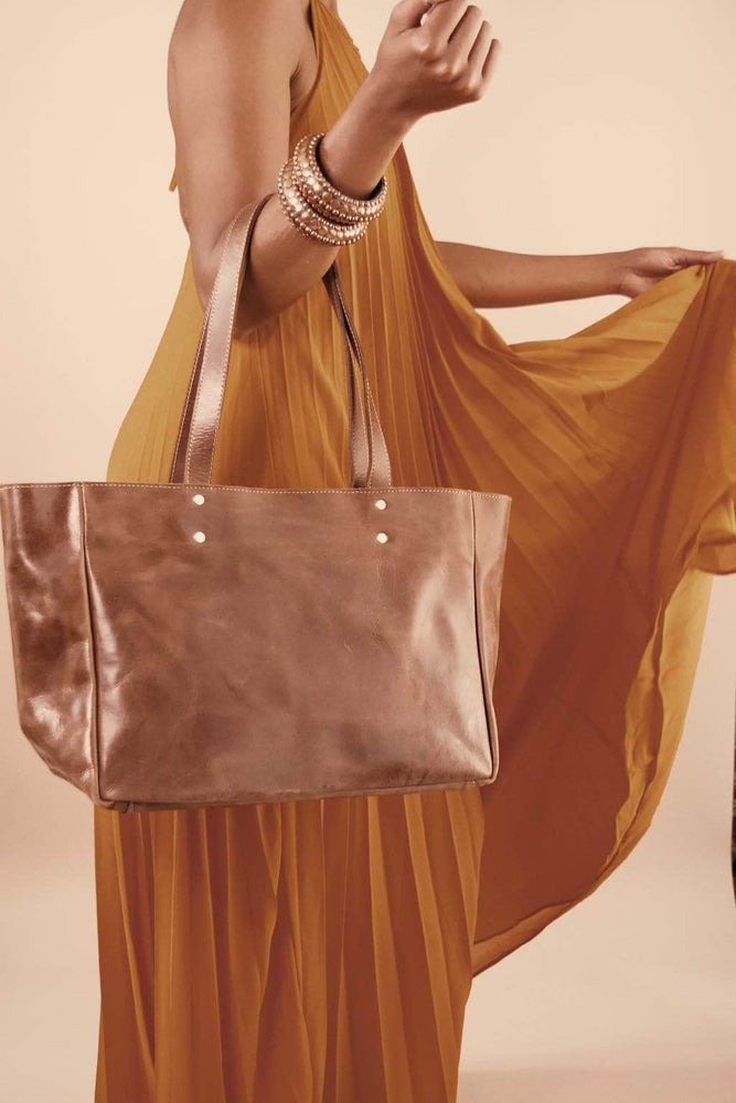 Sheba Leather Tote - Almond Brown - UnoEth