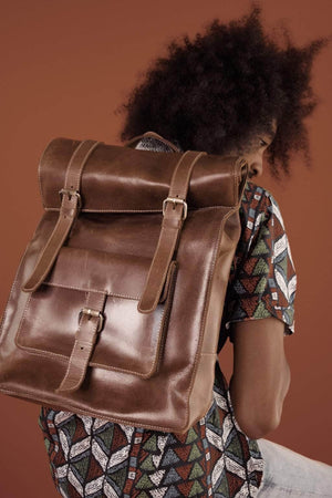 Robel Roll-Top Leather Backpack - Almond Brown - UnoEth