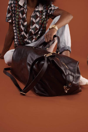 Guzzo Leather Duffle Bag - Black - UnoEth