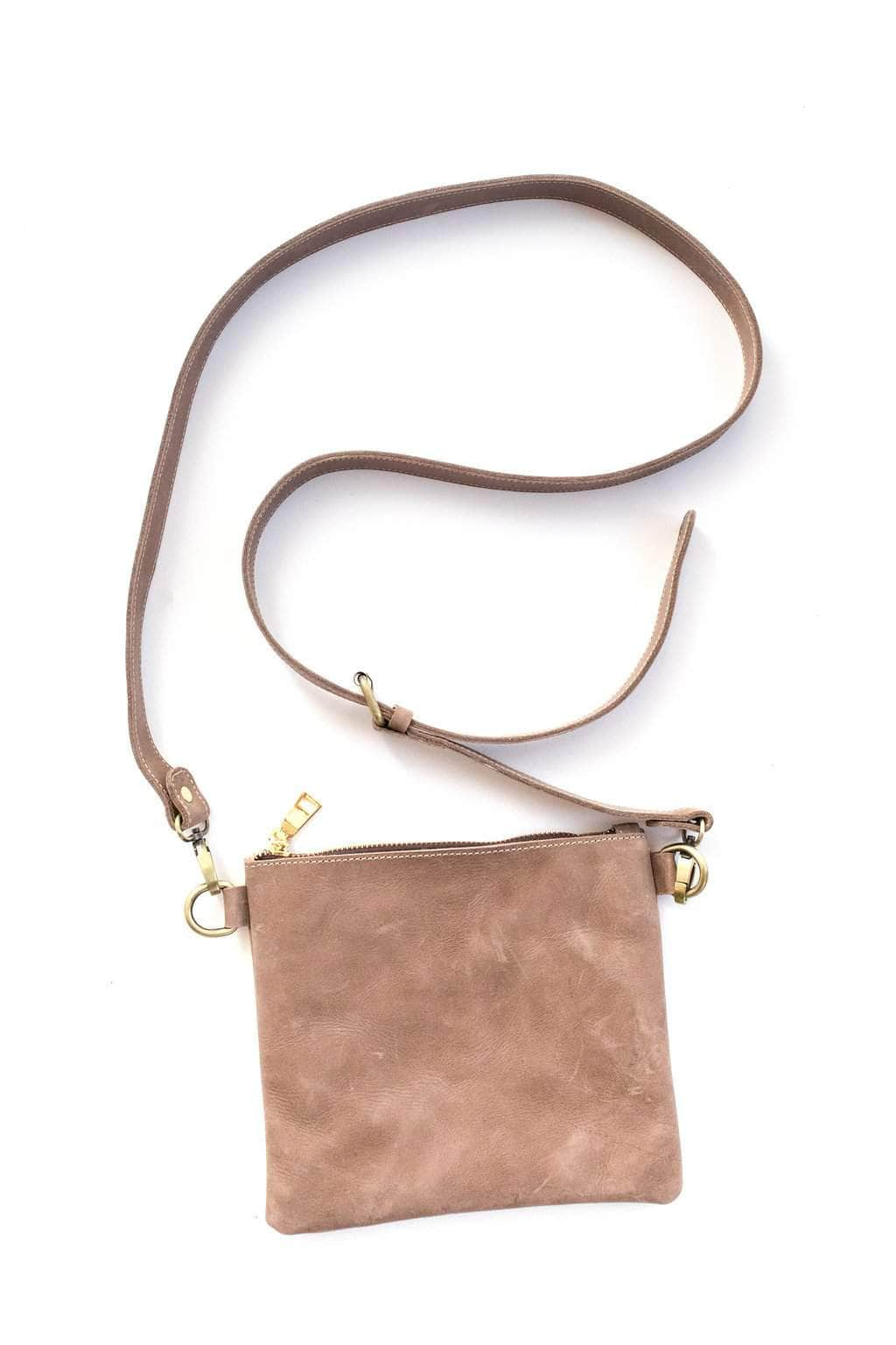 Amara Leather Crossbody - Light Grey - UnoEth