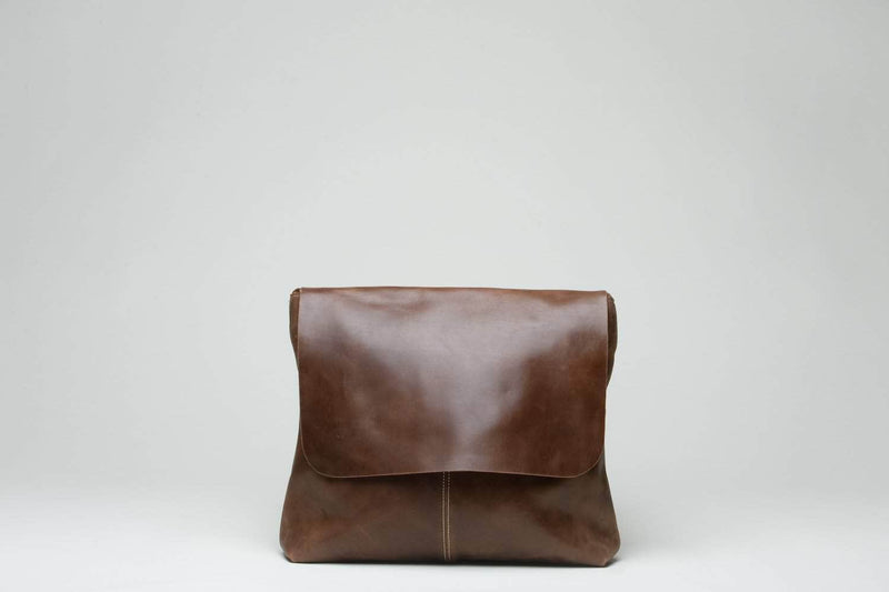 Telak Leather Messenger Bag - Almond Brown - UnoEth