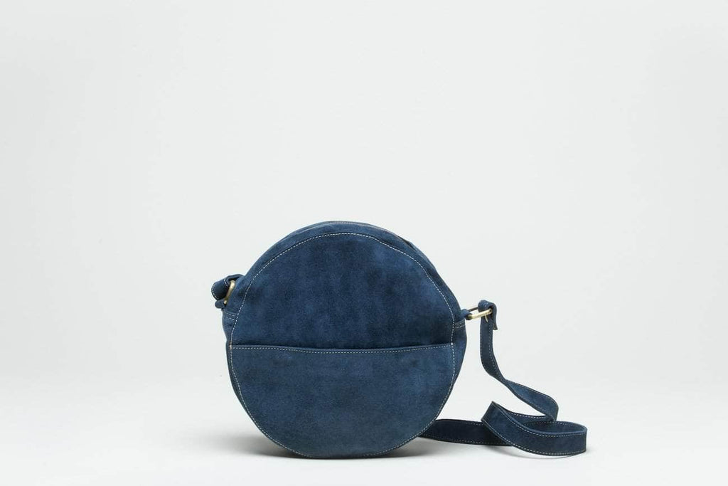 Zuri Circle Bag - Navy Suede - UnoEth