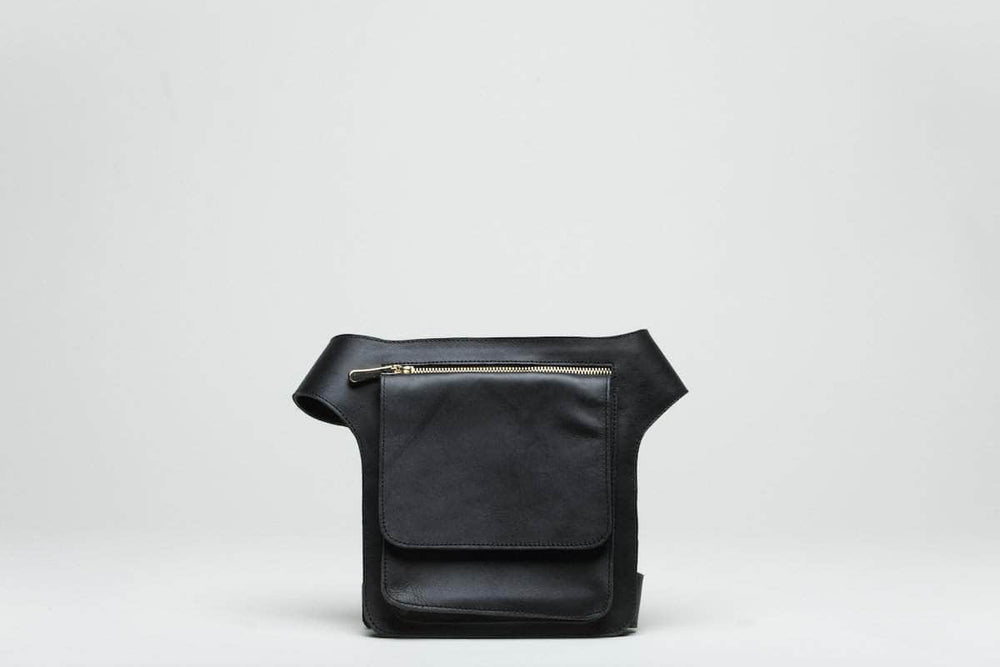 Mekane Leather Fanny Pack - Black