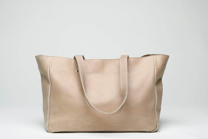 Sheba Leather Tote - Light Grey - UnoEth
