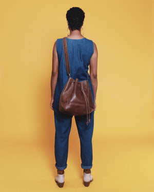 Konjo Leather Bucket Bag - Almond Brown - UnoEth