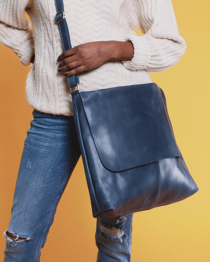 Telak Leather Messenger Bag - Nile Blue - UnoEth