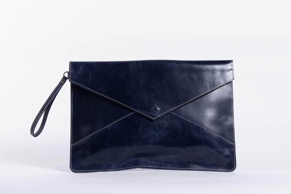 Zahra Leather Envelope Clutch - Nile Blue