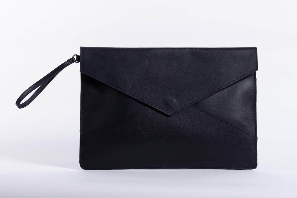 Zahra Leather Envelope Clutch - Black