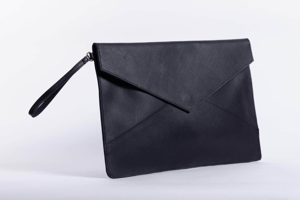 Load image into Gallery viewer, Zahra Leather Envelope Clutch - Black - UnoEth