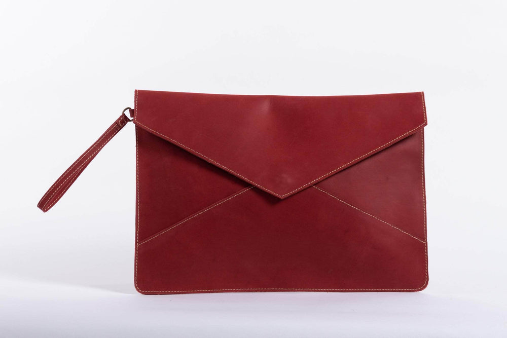 Load image into Gallery viewer, Zahra Leather Envelope Clutch - Red - UnoEth
