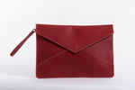 Zahra Leather Envelope Clutch - Red