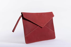 Zahra Leather Envelope Clutch - Red - UnoEth