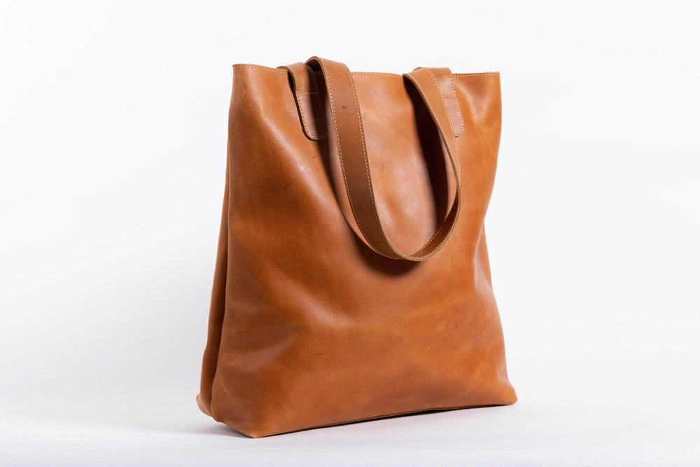 Hanna Leather Tote - Walnut - UnoEth