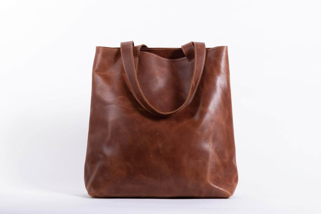 Hanna Leather Tote - Almond Brown - UnoEth