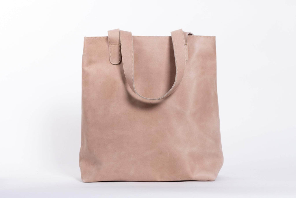 Hanna Leather Tote - Light Grey - UnoEth