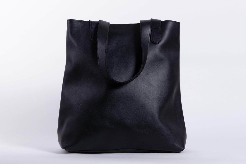Hanna Leather Tote - Black - UnoEth