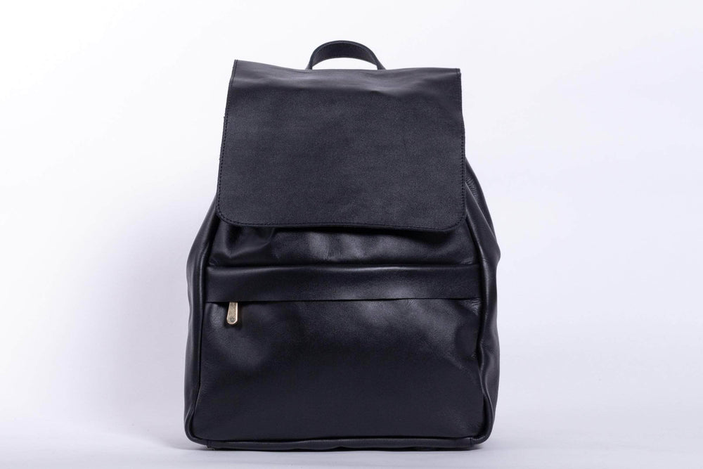 Enku Leather Backpack - Black