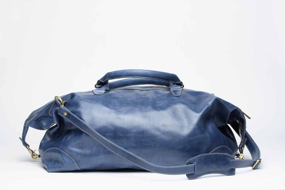 Load image into Gallery viewer, Guzzo Leather Duffle Bag - Nile Blue