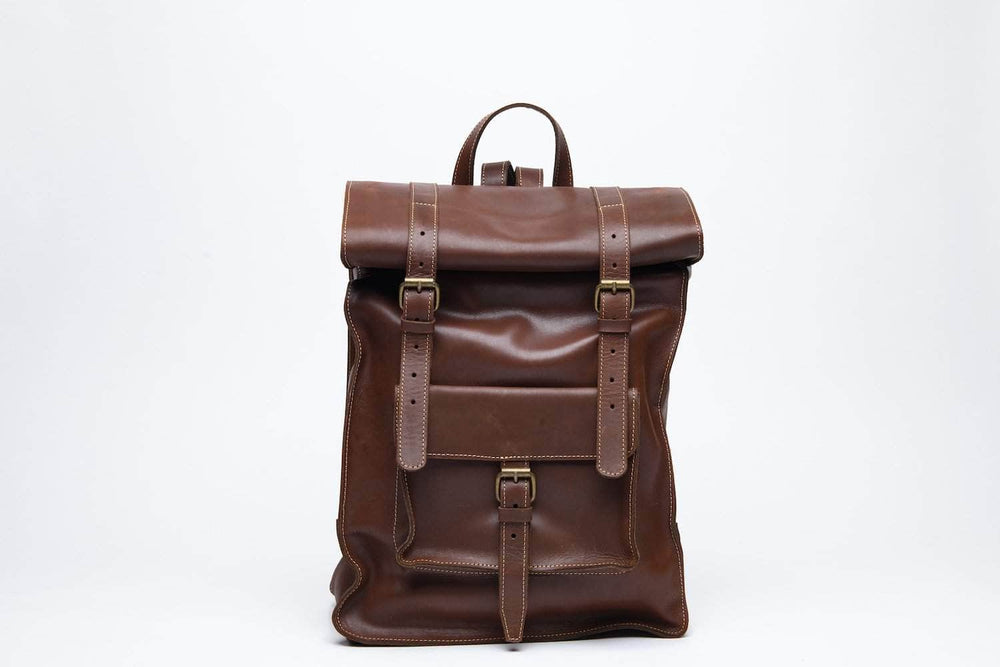 Robel Roll-Top Leather Backpack - Almond Brown